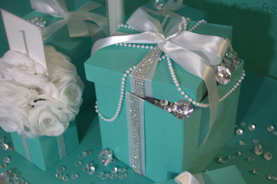 6x6 Bling Gift Box Centerpiece With Ribbon Slimcrafts