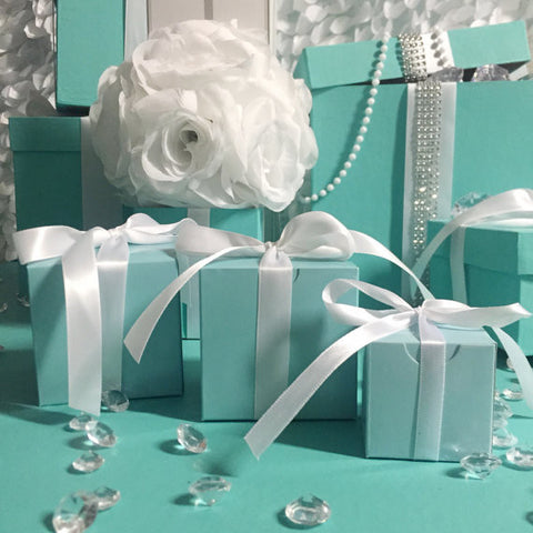 30 2x2x2 Blue Favor Boxes With Ribbon