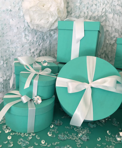 8inch Round Turquoise Gift Box Centerpiece With Ribbon