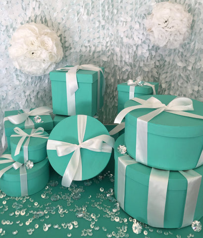 & 14inch Round Turquoise Gift Box Centerpiece With Ribbon u2013 SlimCrafts