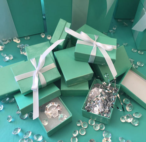 25 Mini Turquoise Favor Gift Boxes With Ribbon
