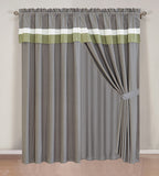 2Pcs Curtain Set With Attached Valance and Sheer Backing  (70117-18)