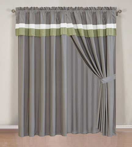 2Pcs Curtain Set With Attached Valance and Sheer Backing (70117-18 ...