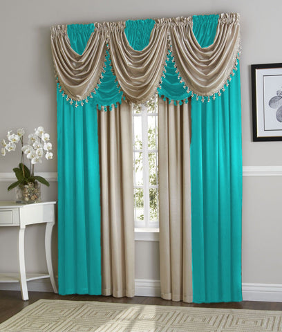Amy Panel & Amy Waterfall  Valance With Decorative Trim.