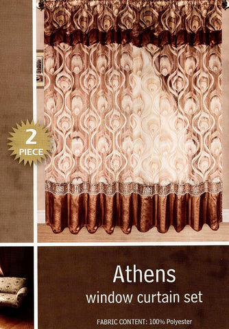 Athens 2 Pieces Window Curtain Set