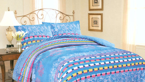 Blue w/ Color Stripes 3 Piece Soft Flannel Borrego Blanket