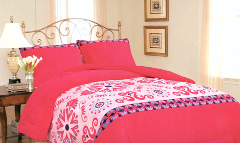 Hot Pink Flowers 3 Piece Soft Flannel Borrego Blanket