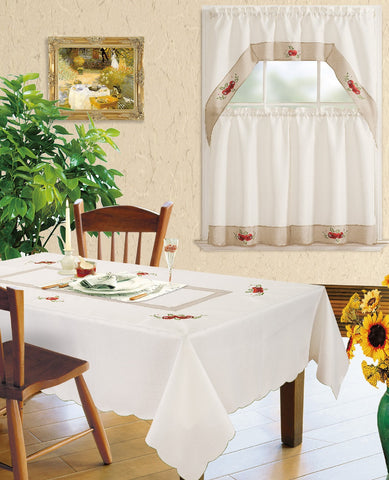 Kitchen Curtain and Matching Tablecloth Layla-627