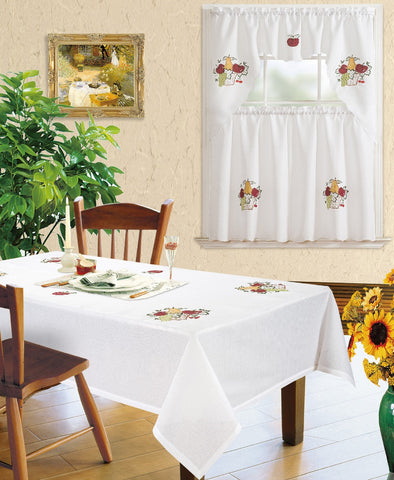 Kitchen Curtain and Matching Tablecloth Layla-632