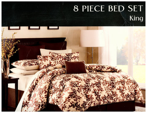 8 Pcs Comforter Set Brown Leaves