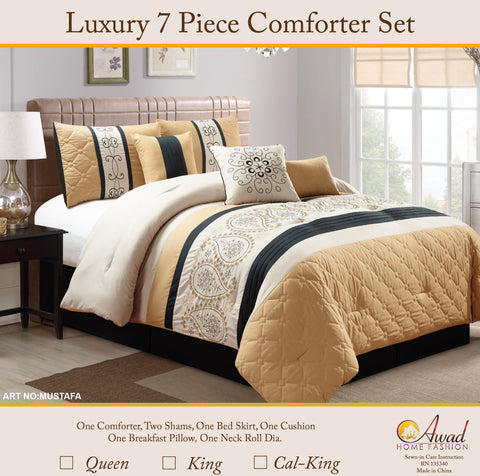 Luxury 7 Pcs Comforter Set  Mustafa
