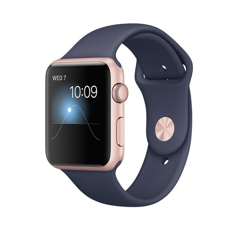 Apple Watch Series 2, 42mm Rose Gold Aluminum Case with Midnight Blue Sport Band
