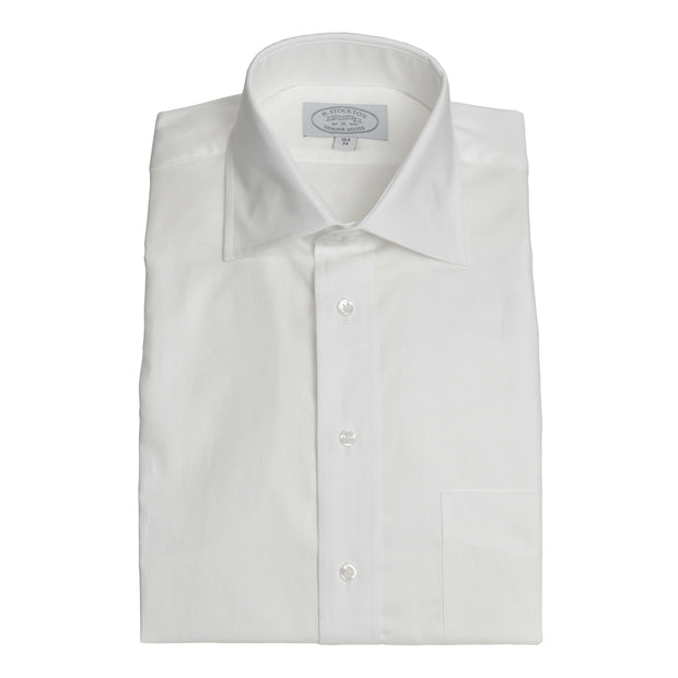 Spread Collar White Pinpoint Dress Shirt