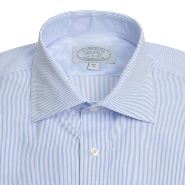 Spread Collar Blue Sky Hairline Stripe Dress Shirt