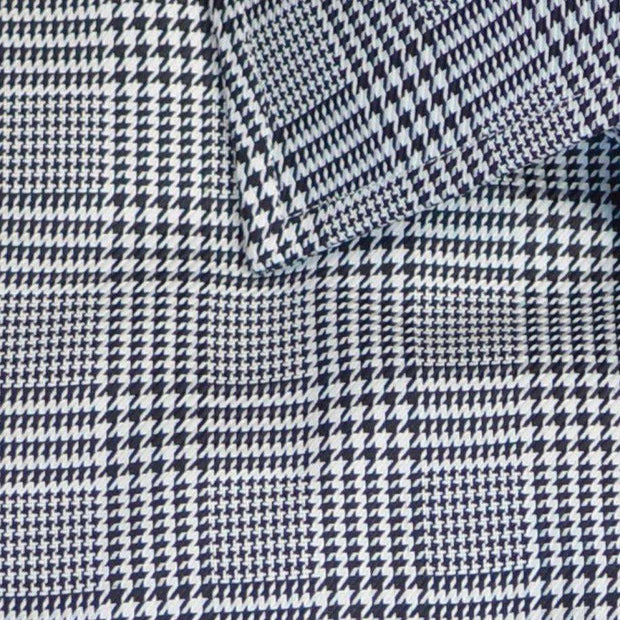 Spread Collar Black & White Prince of Wales Plaid Formal Shirt