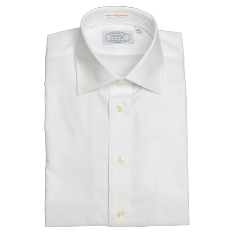 Spread Collar White French Oxford Dress Shirt