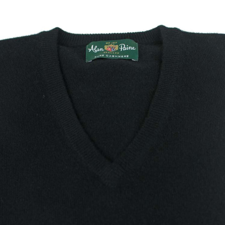 Black Cashmere V-Neck - H. Stockton