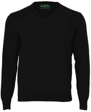 Black Cashmere V-Neck - ALAN PAINE - H. Stockton