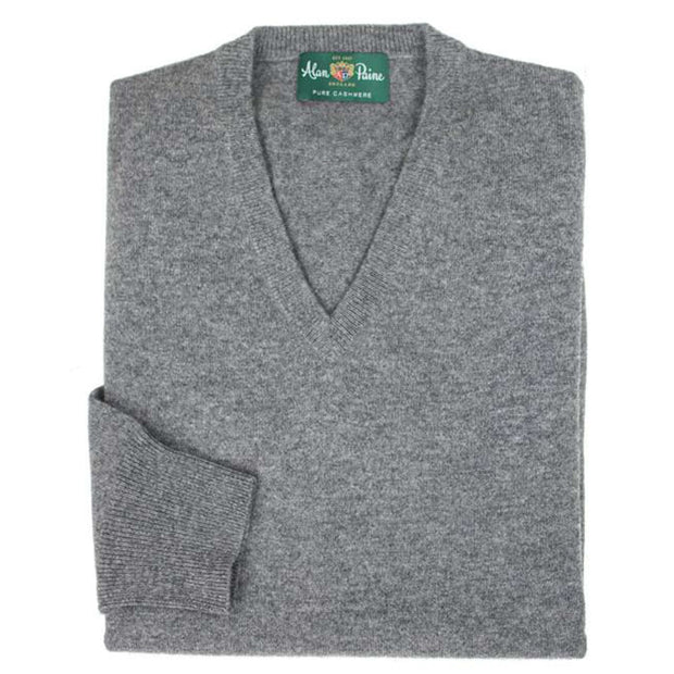 Grey Derby Cashmere V-Neck Sweater