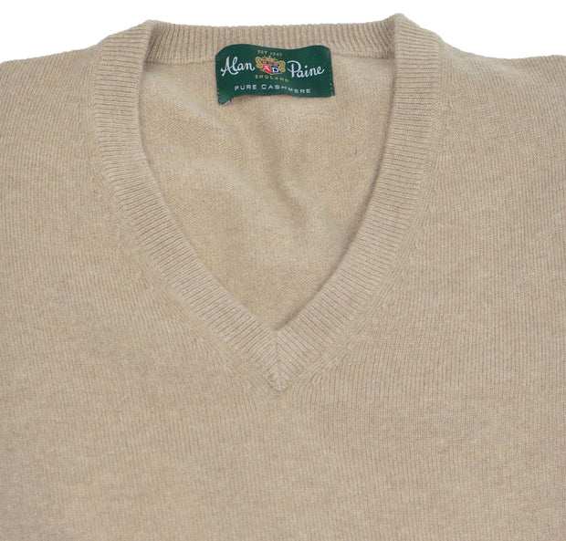 Tan Linen Cashmere V-Neck Sweater