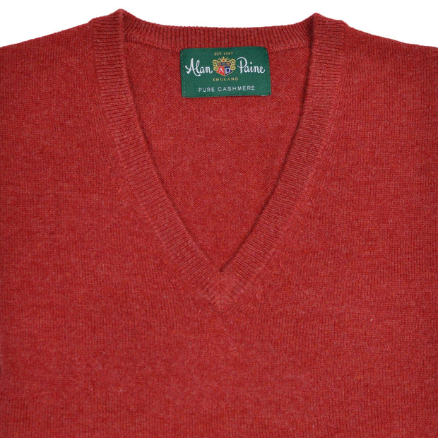 Red Poppy Cashmere V-Neck Sweater