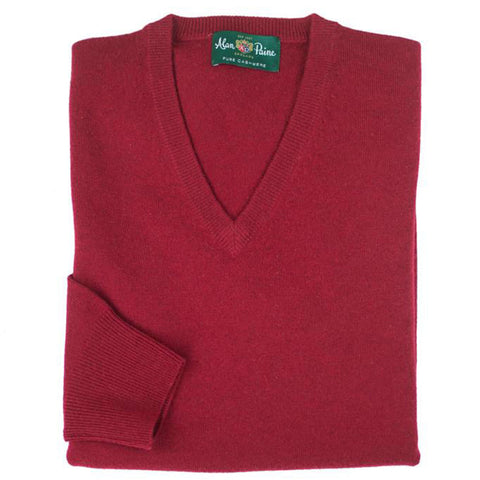 Red Ruby Cashmere V-Neck Sweater