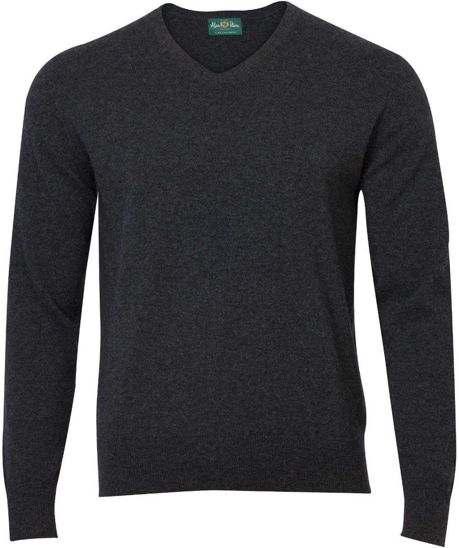 Charcoal Cashmere V-Neck - ALAN PAINE - H. Stockton
