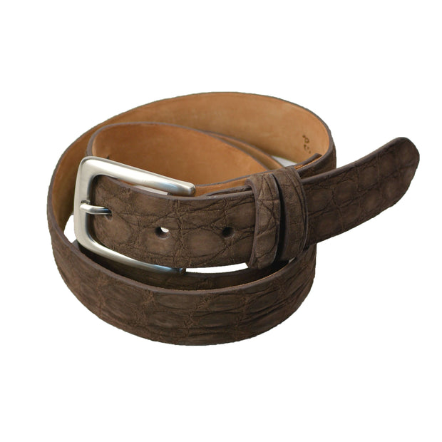 Brown Chocolate Suede Crocodile Belt