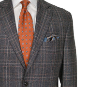 Grey Mix with Orange and Charcoal Plaid Wool Sport Coat