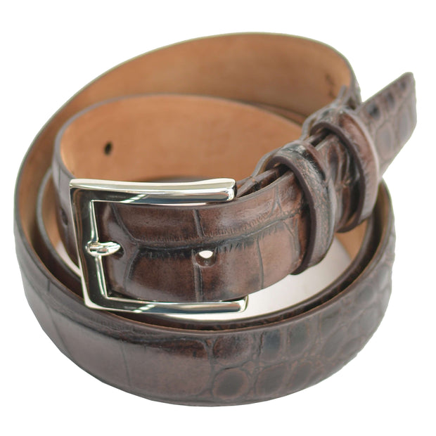 Brown Chocolate Embossed Crocodile Belt