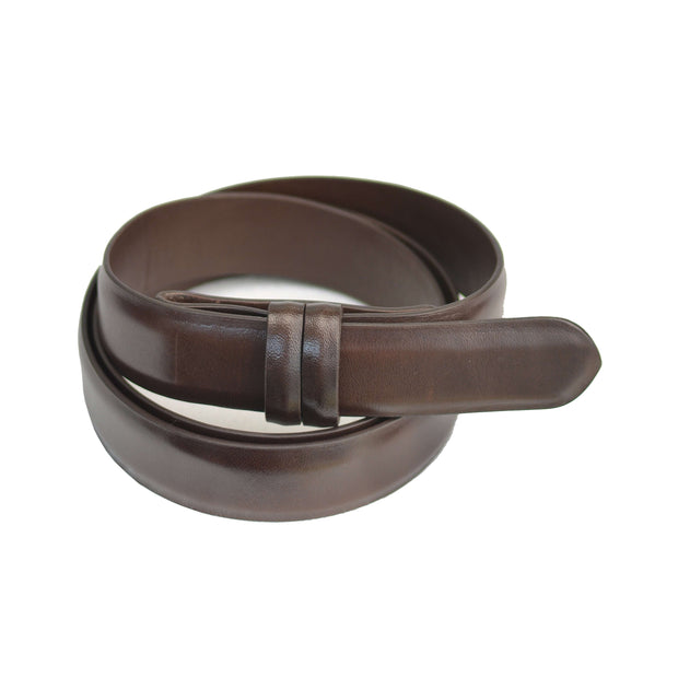 Brown Chocolate Calfskin Strap Belt