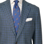 Green Seafoam with Blue/Navy Check Wool/Silk/Linen Sport Coat