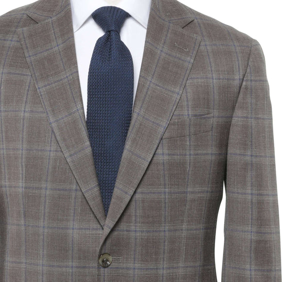 Close up brown soift windowpane coat
