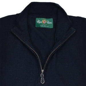Dark Navy Merino QTR Zip