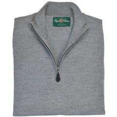 Grey Pearl Merino Wool 1/4-Zip Sweater
