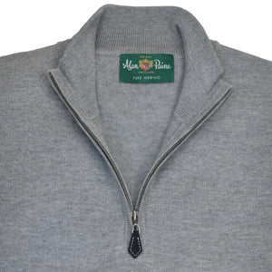 Light Grey Mix Merino QTR Zip