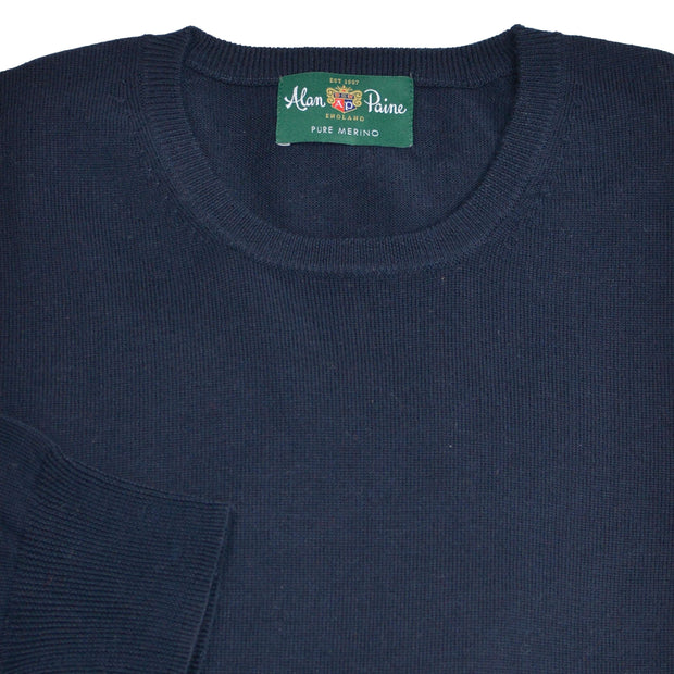 Navy Merino Wool Crewneck Sweater