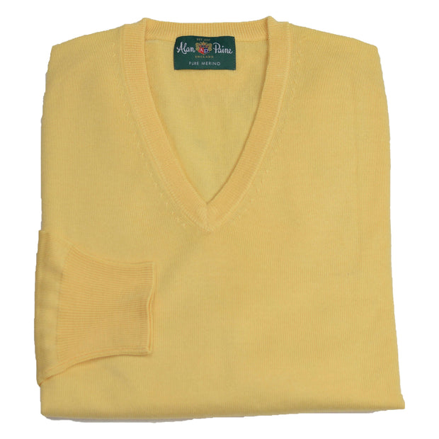 Yellow Sorbet Merino Wool V-Neck Sweater