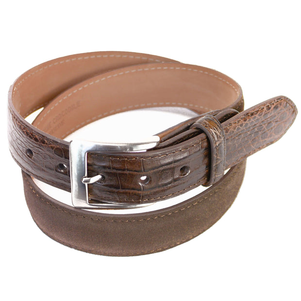 Brown Suede with Crocodile Tip Belt