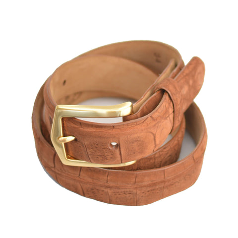 Brown Cognac Suede Crocodile Belt