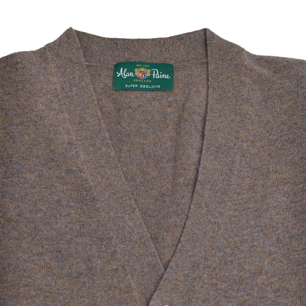 Brown Teak Geelong Cardigan Sweater Vest