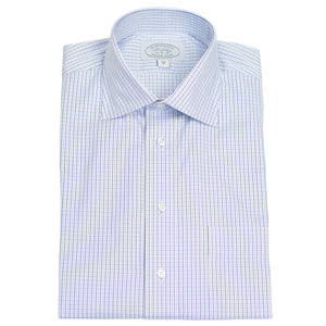 Navy Tattersall Check Dress Shirt