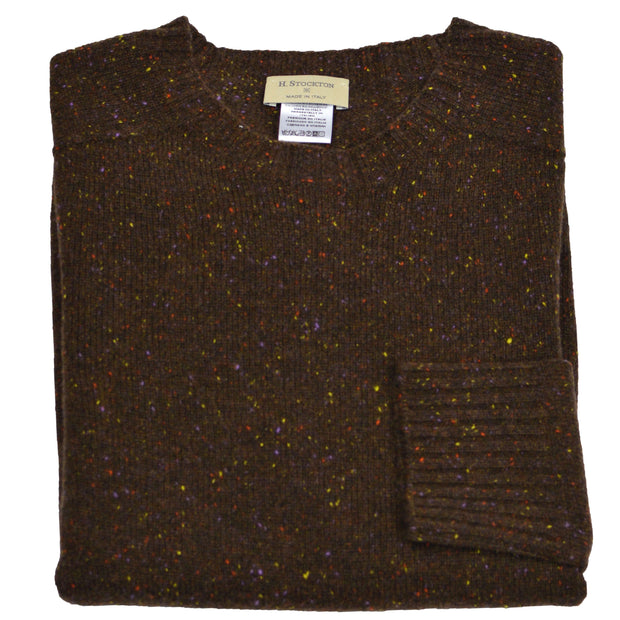 Brown Donegal Cashmere Crewneck Sweater