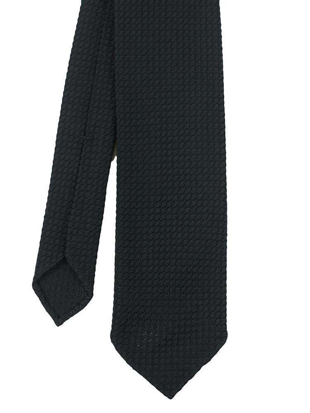 Black Garza Grossa Untipped Solid Grenadine Tie