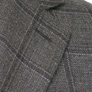 Grey with Grey Charcoal Windowpane Wool/Silk Sport Coat