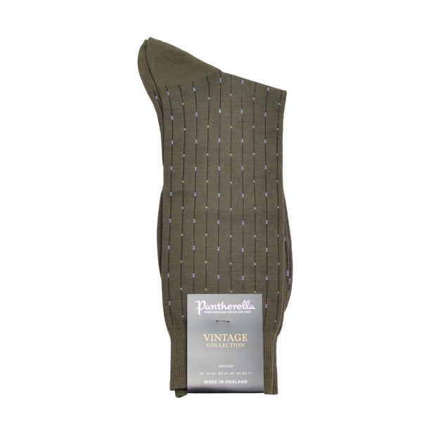 Mid-Calf Cotton Dress Sock - Green Olive with Blue Sapphire Line Dashes