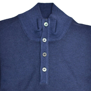 Navy Merino Button QTR Mock