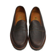 Brown Kudu Lug Sole Leisure Handsewn Penny Loafer