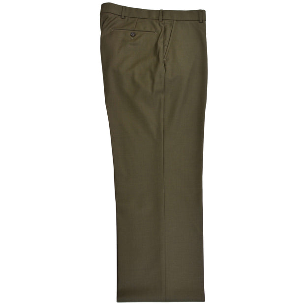 Green Olive Gabardine Wool Dress Trouser - Regular Fit