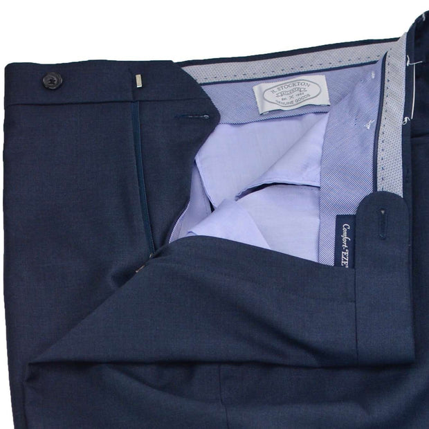 Navy Blue Gabardine Wool Dress Trouser - Regular Fit